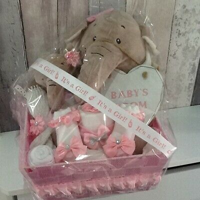 New Born Baby Shower Girls Gift /Basket Set Nappy Cakes Hampers Clothes Bundle