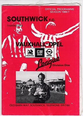 Southwick Home Programmes 1986 To Date