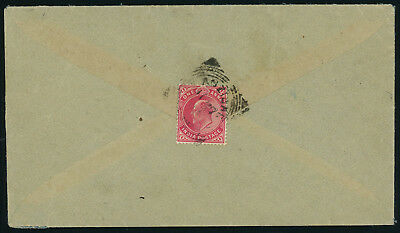 Zanzibar 1893(?) cover franked with an INDIAN KEVII 1a carmine stamp on the back