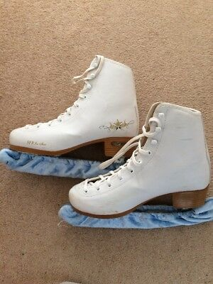 Sfr Size Uk 4 Us 5 White Ice Skates With Covers And Skate Bag
