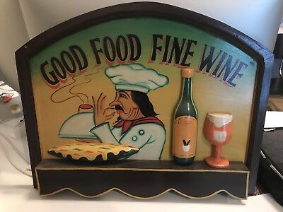 "Wood Demential Sign ( GOOD FOOD  FINE WINE ) 24"" Wide X 20"" Tall"