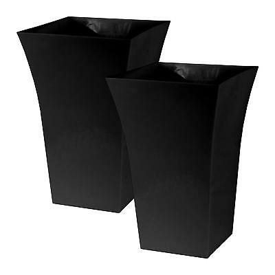 2 x BLACK Large Plant Pots Square Tall Plastic Planters Indoor Outdoor Garden #