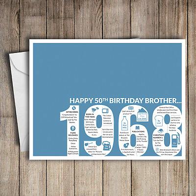 50th Birthday Card Brother 1968 50 Greeting Birth Year Facts