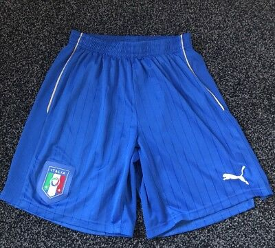 Italy Football Shorts Puma Italia Football Wear Blue Gold