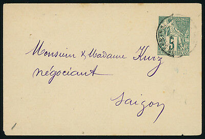 French Colonies general issue 5c green postal envelope sent locally in SAIGON