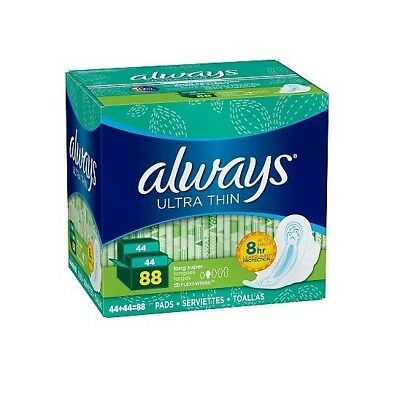 Always Ultra Thin Long Super Pads with Wings 88 ct FAST SHIPPING - NEW ITEM