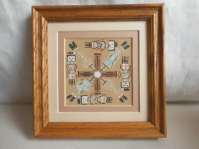 Vintage Navajo Sand Painting Healing 7x7 Signed Framed Native American Indian