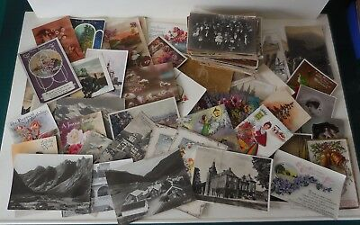 LOT Of 151 x VINTAGE And Antique POSTCARDS Mixed Themes & Ages Photographic etc