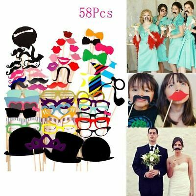 58pcs Party Props Photo Booth Moustache Birthday Engagement Wedding Selfie