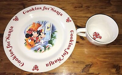 DISNEY STORE COOKIES for Santa Plate Mug Mickey Mouse Pluto Retired ...