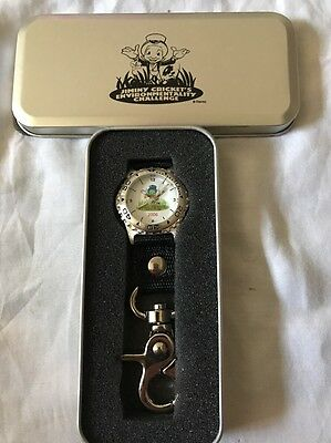 New Disney Jiminy Cricket Pocket Watch! Clip On! Cast Members Only! Rare! 2006