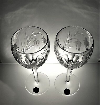 Stuart Cascade Boxed Pair Of Water Goblets, Signed, Label