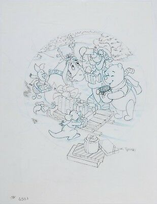 original art WINNIE THE POOH Disney 100Acre Wood Holiday collector plate FESTIVE