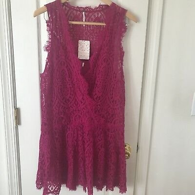 f13d804efab0c Womens Free People Heart In Two Bright Orchid Lace Purple Mini Dress NWT M