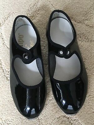 Tempo, By Leo's,  Girl's Black Patent Tap Shoes, Size 7M