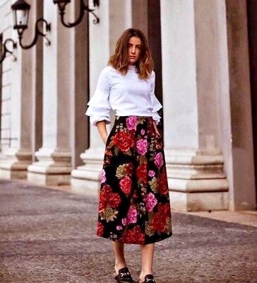 BNWT ZARA floral Full Midi Skirt With Front Box Pleated High Waisted XS