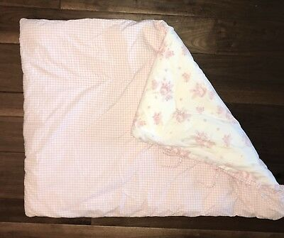 Pottery Barn Kids Toddler Duvet Cover With Insert Light Pink Rose White RARE
