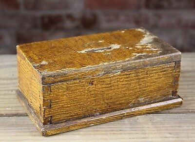 Antique Early American Grain  Painted & Dovetailed Money Coin Box Or Bank Nr