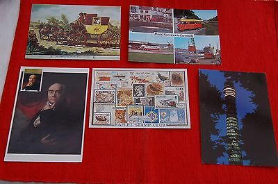 5 Special Frank Postcards GPO Tower/Postal Services Cornwell/ Raflet Stamp Club