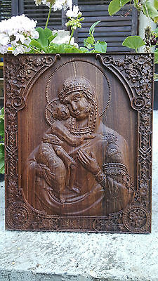 Virgin Mary Orthodox Icon Religious Wood Carved