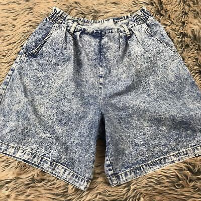 Vtg 90s High Waist Acid Wash Shorts Pleated Denim Jean Punk Grunge Cherokee