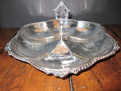 Vintage Silverplate Umbrella Shaped Sandwich or Pastry Serving Tray with Handle