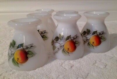 Vintage J.G Durand Arcoroc; COMPLETE Set-of-SIX Fruits-of-France Egg-Cups