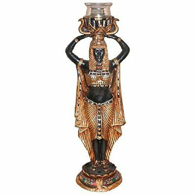 Cleopatra maiden Nubian servant statue Egyptian Altar  Candle holder new UG