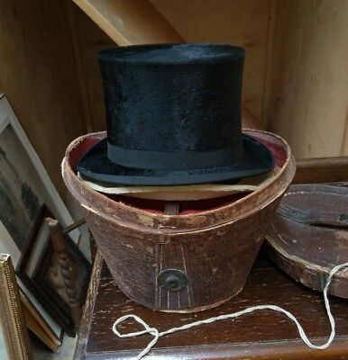 antique Top Hat In Leather Carry Case