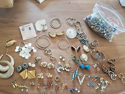 Mixed lot of vintage Retro earrings signed clip ons hooks