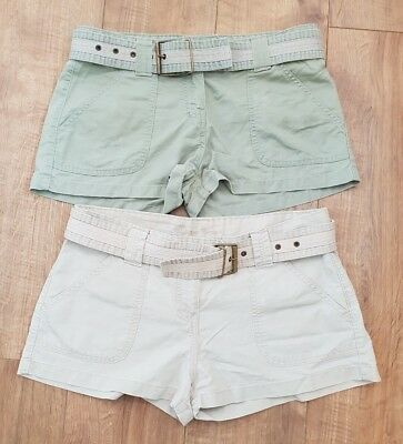 2 x pair of new look vintage canvas cargo shorts size 12 beige and khaki a12