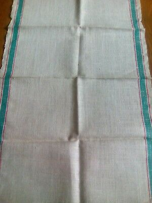Unused Vntage French Flax Linen Kitchen Towel - Green & Red Stripes