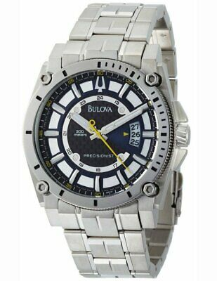 Bulova 96B131 Men's Precisionist 300M Stainless Steel Black/Blue Dial Date Watch