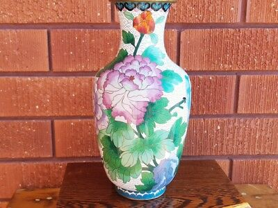 LARGE  CLOISONNIE VASE.oriental brass & enamel vase.ASIAN DECOR CLOISONNIE VASE