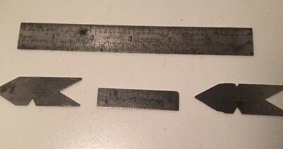 4 Steel Machinist Rulers Starrett 603–303 –390 .