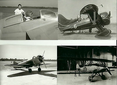 Set Of 3 - Lot #110 Planes #3,6,18 & 20 B&w Photographs - Racing Airplanes