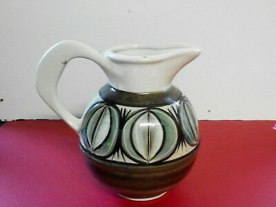 Jersey Pottery Retro Vintage Jug Green and white with Jersey Crest