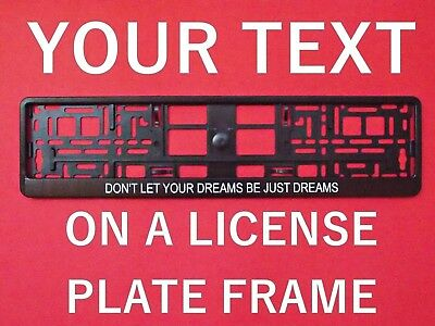 2x Custom Personalized Euro UK License Number Plate Holder Frame With YOUR TEXT