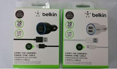 Belkin 2.1A Dual Twin USB Car Charger For Apple iPhone Samsung Android Models