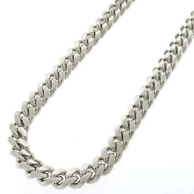 Sterling Silver 9mm Miami Cuban Curb Link Solid 925 Rhodium Chain Necklace