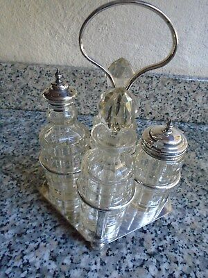 Vintage Silver Plated Four Bottle Cruet Set With Stand