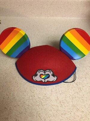Disney Parks Mickey Mouse Ear Hat Rainbow Pride Heart Gay Days Love New SOLD OUT