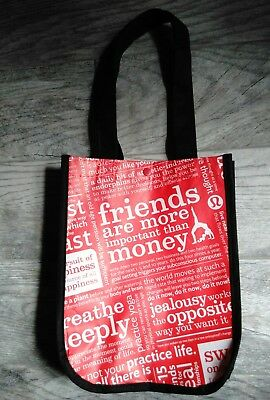 "Lululemon reusable shopping bag ""friends are more important than money"""
