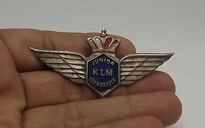 Vintage Old Airline Club Lapel Badge Klm Junior Stewardess Wings Badge Metal Tin
