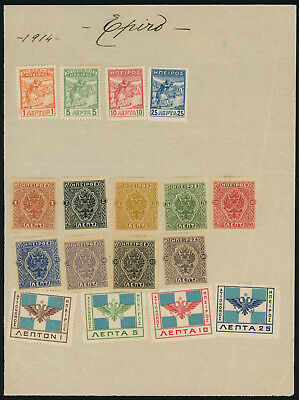 Greece 1914 Epirus issues small lot of mint stamps on old page and card, inspect