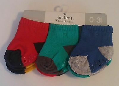 Carter's 0-3 Months 6 Pack Socks. Solids. Two Tone. Multi Color. Unisex.
