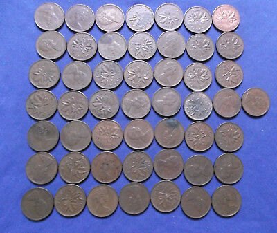 Roll of (50)1966 Canada 1 cents, average circulated condition.