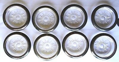 Set Of 8 Vintage Silver Plated Coasters Starburst Pattern, Italy, Ships Free