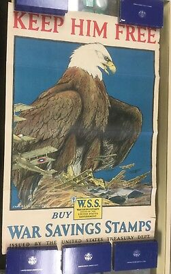 "{DO610B} Original World War I Poster ""Keep Him Free""  Eagle 1918"