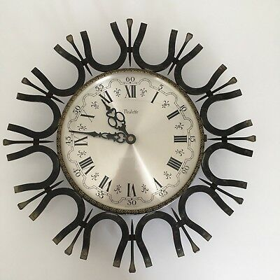 VINTAGE VEDETTE WALL CLOCK HORSE SHOE DESIGN Beautiful French Antique